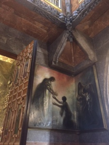 Each of the four walls had paintings especially made to fit the curve of the wall.