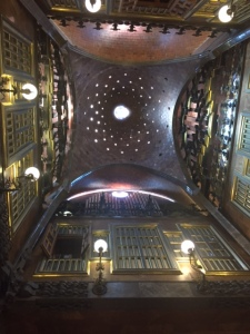 Looking up to the three story ceiling of the main hall where guests were greeted and entertained