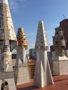 The hallmark chimney tops in Gaudi's fanciful style.