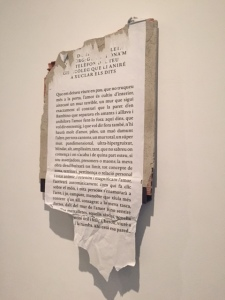 "Mireia Sallares, ""Literature on the Landing"", 2014 is the result of what is known as an intervention in an apartment building where tenants had complained about bad treatment by the landlord and and were evicted from their apartments where they had lived for many years.  The vacant apartments were then occupied by various supporters and artists.  The publicity about the intervention helped the court case against the landlord and the tenants were victorious."