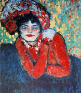 "Picasso, ""Margot"", 1901. The room that contained this and the next painting were the most interesting as these were painted after his first trip to Paris when he met Toulouse Lautrec and Cezanne"