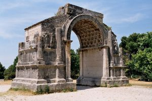 This triumphal arch built in 25 BCE can be found across the road from the hospital in St. Remy where van Gogh spent some time. It marked the northern end of the city of Galum, a fortified city later abandoned in 260 CE. It is the best preserved of this type of arch in France.