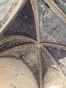 One of the remaining painted ceilings.  This is an example of Trompe L'oeil (trick of the eye) and also of rib vaulting