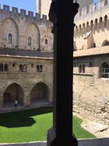 A view into the inner courtyard, notice the crenelations along the top edges, synonymous with the Middle Ages, decorative and useful for shooting through.