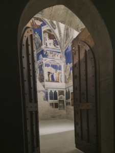 "I particularly enjoyed this rendering in front of a closed door where they are renovating and restoring frescoes.  It is closed to the public but gives one a glimpse of how this may have looked in ""its"" day."