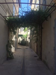 Alleyway with a built in sukkah