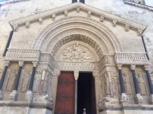 This is a well preserved Romanesque church.  The portal is decorated with biblical scenes and figures of important church leaders.