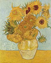 While this was painted in Paris there is no doubt that van Gogh would have seen the fields of sunflowers around Arles. This one was painted in 1888 before he came to Arles.