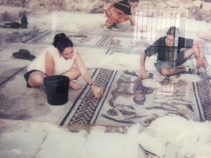 This photo shows the beginning of restoration of the mosaic floor.