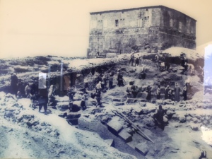 A photo of early excavations at Zippori. The citadel/fortress was erected  in the 12th century.