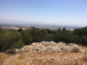 This is the view from Rosh Pina on the top of the hill looking out over the Golan (Syria beyond) but notice the pile of stones below.  Do you think they are getting ready for expansion?