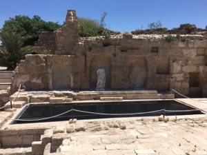 A nymphaeum (fountain) that leaves a little less to the imagination than the one we saw in Bet Shean. Here the infinity pool gives you the sense of how it may have looked and the statue is a reproduction.