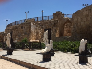 Entrance to the Roman Theatre, displaying portions of sculptures found on the site.