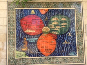 This is a 16th century mosaic of a map that shows Jerusalem at the center of the then known world. It's on the wall just outside of the Jerusalem City Hall.