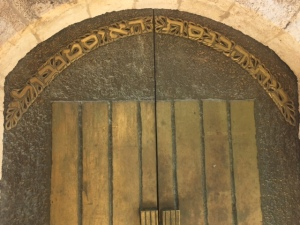 The door to the Istanbul community synagogue in the Jewish quarter.