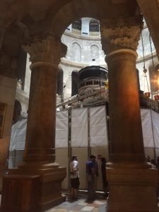 So many denominations have vied for control over the Church of the Holy Sepulcher that over time they've been restricted to certain hours and certain sections and no one wants to take care of repairs.  They have finally come to an agreement to repair the badly deteriorating interior.