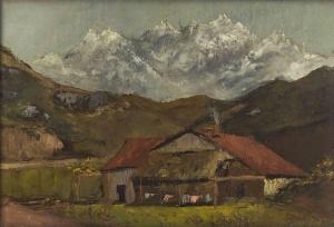 Gustave Courbet - 020 Le chalet dans la montagne - Хижина в горах - vers 1875 - 33 x 49 - Acheté vers 1899 - cat. 1918, 70 - cat. Pouchkine J 3542