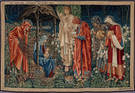 "Edward Burne-Jones, ""Adoration of the Magi"", tapestry, 1886-1902. It's so interesting to see this painter's work in tapestry that looks like one of the Raphael cartoons for tapestry since this artist is a Pre-Raphaelite."
