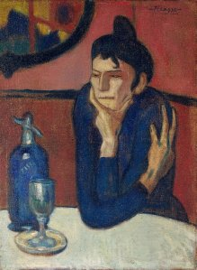 "Picasso, ""Absinthe Drinker"", 1901. Shchukin said of Monet and Picasso: ""If, with Claude Monet everything flows, Picasso's hand makes everything solid....where in Matisse's work, there are just silhouettes, with Picasso, there are just volumes."""