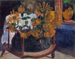 "Gauguin, ""Sunflowers"", 1901. Gauguin and Van Gogh were close friends and worked side by side until Gauguin left Europe for the South Pacific. Wonder if he was thinking about his old friend when he painted this."