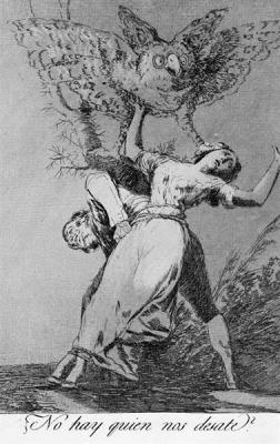 "Goya, ""Can't Anyone Untie Us"", 1799, etching: A man and a woman tied together with ropes, struggling o get loose and crying out to be untied quickly? Either I am mistaken or they are two people who have been forced to marry."""