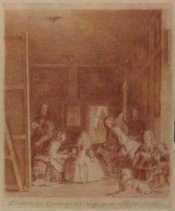 "Goya (after Velasquez), ""Las Medians"", red chalk and pencil, 1779"