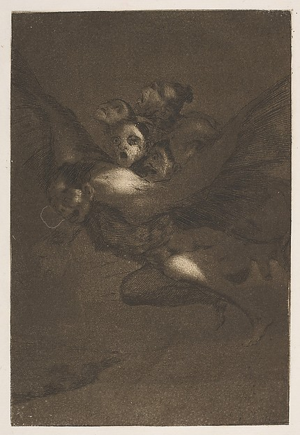 "Goya, ""Bon Voyage"": ""Where is this internal company going, filling the air with noise in the darkness of the night? If it were daytime it would be quite a different matter and gun shots would bring the whole group of them to the ground, but as it is night, no one can see them."", 1799, etching, burnished aquatint, and burin"