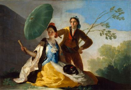 "Goya ""The Parasol"", oil on canvas, 1777, 59 X 40"""