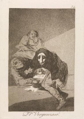 "Goya, The Shamefaced One, etching and aquatint, 1799: ""There are men whose faces are the most indecent parts of their whole bodies and it would be a good thing if those who have such unfortunate and ridiculous faces were to put them in their breeches."""