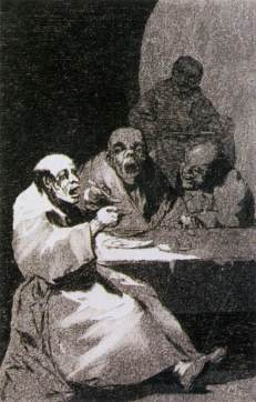 "Goya, ""They are Hot"", etching and burnished aquatint, 1799: ""They are in such a hurry to gobble it down that they swallow it boiling hot. Even in pleasure, temperance and moderation are necessary."""