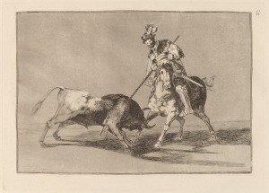 "Goya, ""The Old Comprador Spearing Another Bull"", etching, burnished aquatint, and burin, 1816"
