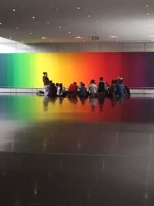 This group of school children were with an Arabic speaking docent. The museum has a very active childrens program and I was so glad to see these kids learning about what is their heritage too. I thought seeing them in front of the rainbow Agam painting was quite fitting.