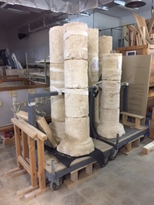 Very grand are architectural elements like these columns about to be shipped back to Herodium, to be placed in a new section that has been restored. Herodium was a pleasure place built on the top of a hill by Herod sometime around 23 BCE.