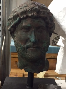 Several years ago there was a large exhibition about Hadrian, the Roman emperor who traveled and conquered widely and was quite accomplished in many ways. One of the controversies in this part of the world is that he changed the name from Canaan to Palestina. As you can see he was quite a confident and handsome man. The first emperor to grow a beard. The next several followed suit.