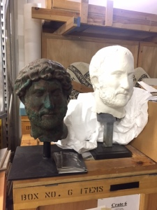 "In preparation for that exhibition one of the curators who thought the hairstyle wrong for that time period created a plaster bust with a different ""doo"". The rest of the face stayed exactly the same. Isn't it remarkable how different they look."
