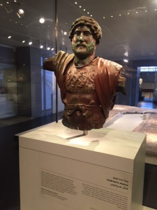 Here is one of the only bronze busts of Hadrian in the world. The mystery is that this was transported with troops from one place to another and this one was somehow left behind when the garrison moved on. Who knows why so they are planning to excavate in the area to see if they can solve the puzzle. This one was found buried by a local person who was using one of those metal detectors looking for ancient coins!