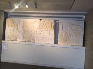 Another mystery from the same area is this very large fragment of inscribed marble touting Hadrian's importance found in the same area. The pieces are as big as those found in the Pantheon in Rome. Why and why here?