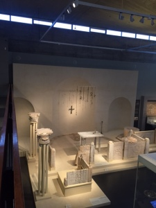 Across from the 4th century synagogue is a 5th century church reconstructed from 17 different churches. Notice the similarity of structure between the two worship spaces.
